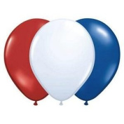 100 Patriotic Balloons - Red White and Blue - 28cm Each