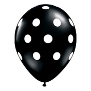 Big Polka Dots Balloons - 11-Inch Black with White Dots, 50 count