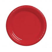 Bulk Value 25cm Plastic Plates Red Package of 50