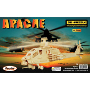 Puzzled 3D Puzzle Wood Craft Construction Kit, Apache Helicopter