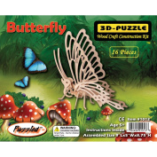 Puzzled 1013 Little Butterfly 3D Natural Wood Puzzle - 16 Pieces