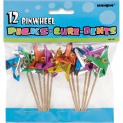 Pinwheel Picks 10cm 12/Pkg-Assorted Colours