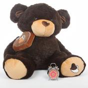 Super Huge 120cm Cute Valentines Day Teddy Bear - Sugar Pie Big Love - Dark Chocolate Brown by Giant Teddy