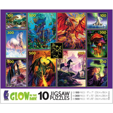 25cm 1 Multi-Pack Glow in the Dark Jigsaw Puzzle Collection(Colours/Styles may Vary)