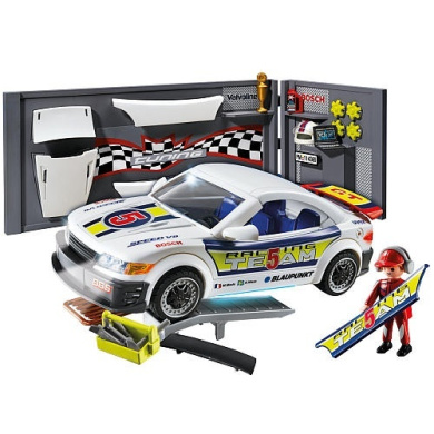 playmobil car repair shop and race car with headlight by. Black Bedroom Furniture Sets. Home Design Ideas