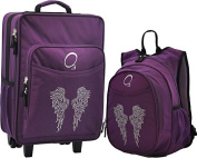 Obersee Kids Luggage and Backpack with Integrated Cooler, Rhinestone Angel Wings