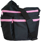 Nappy Dude's Diva Bag for Hip Moms, Black with Pink Zippers