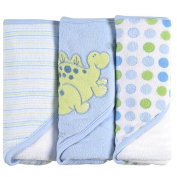 SpaSilk 3 Pack Hooded Towels with Dinosaur Embroidery - Blue