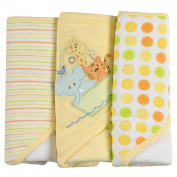 SpaSilk 3 Pack Hooded Towels with Animal Embroidery - Yellow