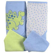 SpaSilk 2 Pack Hooded Towel Set with 2 Washcloths - Blue