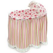Badger Basket Embrace Baby Bassinet with Stripe and Flower Bedding Set