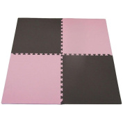 "Tadpoles Double Sided Playmat Set (24"") 4 Piece - Pink/Brown"