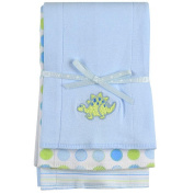 SpaSilk Cotton 3 Pack Burpcloths - Blue