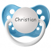BPA Free Christian Pacifier with Protection Cap - Blue