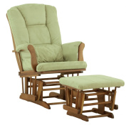 Stork Craft Custom Tuscany Glider and Ottoman  - Cognac Finish with Sage Cushions