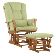 Stork Craft Custom Tuscany Glider and Ottoman  - Oak Finish with Sage Cushions