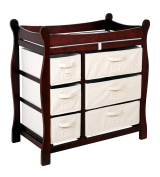 Badger Basket 02412 Cherry Sleigh Style Changing Table With Six Baskets