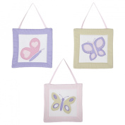 JoJo Designs Pink and Purple Butterfly Collection 3-Piece Plush Wall Hanging Set