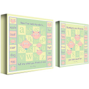 Trademark Art Grace Riley 2 Piece Canvas Art - ABCs and 123s