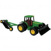 John Deere Tractor Replica with Blade and Plow