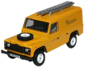 Oxford Diecast Yellow British Telecom Land Rover Defender - 1/76 OO Scale Diecast Model