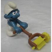 Vintage Pvc Figure : Smurfs Smurf w/ Lawn Mower