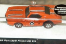 Hot Wheels Sizzlers Orange '69 Pontiac Firebird T/A. Built-in motor. Quick charge Sizzler car in 90 seconds. Charger sold separately. Sizzlers - World's coolest electric cars!