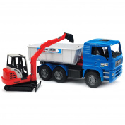MAN Tipping container truck with Schaeff mini excavator