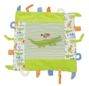 Maison Chic Green Alligator Multi-Functional Blankie With Tabs, Textures and Teething Rings!