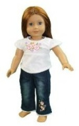 "2 Piece ""Hanging Out"" Flower Jeans and Shirt Outfit - Fits 46cm American Girl - Doll Clothes"