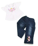 """2 Piece """"Hanging Out"""" Flower Jeans and Shirt Outfit - Fits 46cm American Girl - Doll Clothes"""