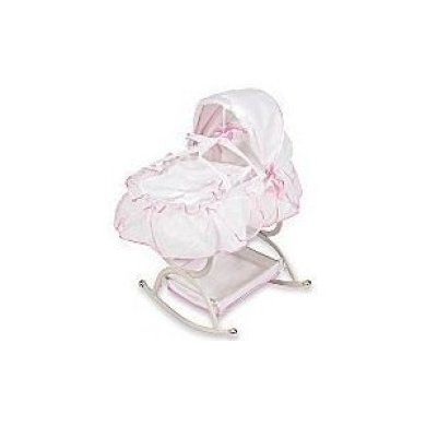 White Victorian Doll Cradle Bassinet