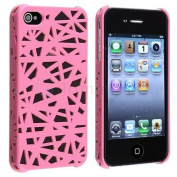 Pink Interwove Line Bird's Nest Style Slim Hard Case Cover For Iphone 4 4g 4s
