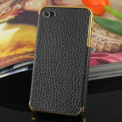 Black   Fashion Golden-plating Leather Cover Case Back Skin For Apple Iphone 4 4g 4th 4s