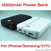 12000mah Power Bank Portable Charger With Led Light For Iphone/ipad/samsung/htc &