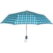 Tina T Madrid Automatic Open Compact Umbrella-Blue Argyle