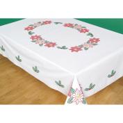 Jack Dempsey Inc. Tablecloth Poinsettias Perle Edge