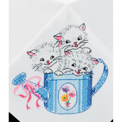 Tobin 20195570 Kittens Stamped Tablecloth for Embroidery 127cm x177.8cm