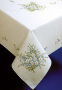 "Tobin Forget Me Not Stamped Oblong Tablecloth for Embroidery 58""X90"" 20273290"