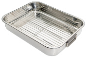 Kitchen Craft Roasting Pan with Rack, Stainless Steel KCRNR40