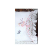 Fairway Needlecraft Butterfly Lady Stamped Lace Edge Pillowcase Pair, 80cm x 50cm