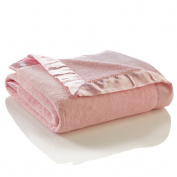 Elegant Baby Ultra Plush Blanket, Satin Border Blanket 90cm x 110cm in Pastel Pink