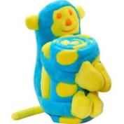 Elegant Baby Microplush Baby Blanket and Toy Monkey , Aqua/Yellow