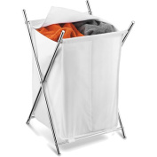 Honey-Can-Do HMP-01125 Chrome 2-Compartment Folding Hamper with Cover