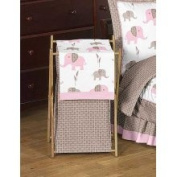 JoJo Designs Pink and Taupe Mod Elephant Laundry Hamper