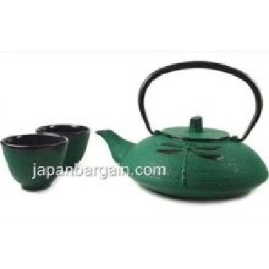 Rikyu green dragonfly cast iron tetsubin tea pot kettle Green tea pot set