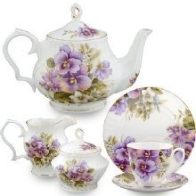 Gracie Bone China Purple Pansy 12pc. Tea Set Teapot 4 Cups Saucers Cream Sugar