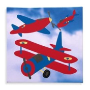 Studio Arts Kids Red Wing Plane Embellished Wall Art