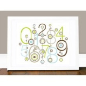 George 123 Wall Art in Green / White Olli & Lime