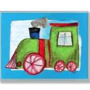 The Kids Room Green Train Blue Border Wall Plaque